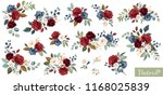 Stock vector set of floral branch flower red burgundy navy blue rose green leaves wedding concept with 1168025839