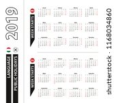 two versions of 2019 calendar... | Shutterstock .eps vector #1168034860