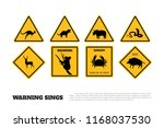 animals yellow warning signs.... | Shutterstock . vector #1168037530