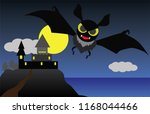 the bats fly out of the castle... | Shutterstock .eps vector #1168044466