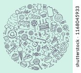 doodle candy set. collection of ... | Shutterstock .eps vector #1168045933