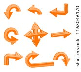 orange 3d arrows. different... | Shutterstock . vector #1168046170