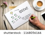 hand writing idea concepts with ... | Shutterstock . vector #1168056166