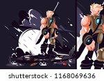 man warrior with sword and... | Shutterstock .eps vector #1168069636