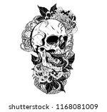 skull with chrysanthemum tattoo ... | Shutterstock .eps vector #1168081009
