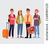 happy group of teen traveler ... | Shutterstock .eps vector #1168084120