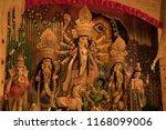 goddess durga idol at decorated ... | Shutterstock . vector #1168099006