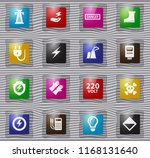 high voltage glass icons set... | Shutterstock .eps vector #1168131640