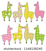 cute llamas with patterns | Shutterstock .eps vector #1168138240
