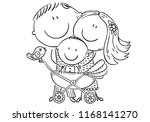 happy family with a baby in a... | Shutterstock .eps vector #1168141270