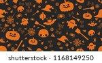 halloween festive seamless... | Shutterstock .eps vector #1168149250