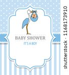baby shower boy. stork with a... | Shutterstock .eps vector #1168173910