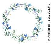 wreath of blue flowers | Shutterstock . vector #1168182349
