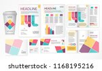 Stock vector leaflets trifold brochure template a flyer design visit cards envelope whith inforgraphics 1168195216