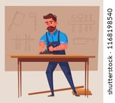 funny carpenter is working.... | Shutterstock .eps vector #1168198540