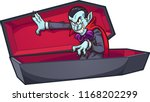 vampire coming out of coffin.... | Shutterstock .eps vector #1168202299
