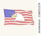 usa flag bald american eagle... | Shutterstock .eps vector #1168211176