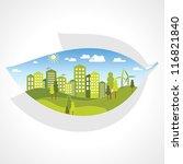 green city inside the leaf | Shutterstock .eps vector #116821840