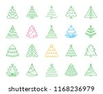 christmas tree thin line icons... | Shutterstock .eps vector #1168236979