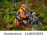 hunter and hunting dogs chasing ... | Shutterstock . vector #1168242853
