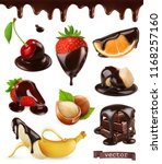 fruits and berries in chocolate.... | Shutterstock .eps vector #1168257160