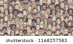 diverse crowd of people  ... | Shutterstock .eps vector #1168257583