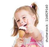 Happy Kid Girl Eating Ice Cream ...