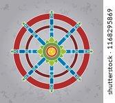 dharma wheel or dharmachakra ... | Shutterstock .eps vector #1168295869