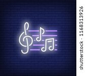 treble clef and notes neon sign....   Shutterstock .eps vector #1168313926