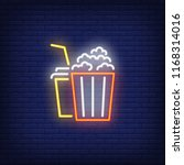 popcorn and coke neon sign.... | Shutterstock .eps vector #1168314016