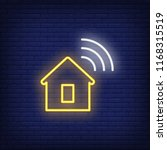 house with wi fi symbol neon...   Shutterstock .eps vector #1168315519