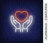 hands holding heart neon sign.... | Shutterstock .eps vector #1168315666