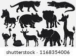 Stock vector set of black silhouettes wild animals cartoon on white background 1168354006
