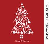 white christmas tree made of... | Shutterstock .eps vector #116835874