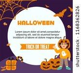 halloween greeting card.... | Shutterstock .eps vector #1168362826