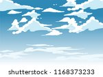 vector blue sky clouds. anime... | Shutterstock .eps vector #1168373233
