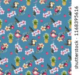 funny exotic pattern with... | Shutterstock .eps vector #1168395616