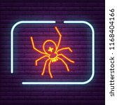 neon spider sign arachnid logo... | Shutterstock .eps vector #1168404166