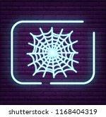 neon spider sign arachnid logo... | Shutterstock .eps vector #1168404319