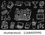 back to school icon set. doodle ... | Shutterstock .eps vector #1168405990