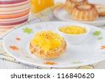 Bread with orange marmalade - stock photo