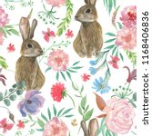 Stock photo watercolor painting seamless pattern with beautiful flowers and bunny butterfly 1168406836