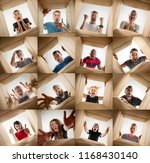 the surprised men and women... | Shutterstock . vector #1168430140