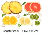 healthy background. slices of... | Shutterstock . vector #1168441999