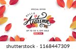 autumn leaves background.... | Shutterstock .eps vector #1168447309