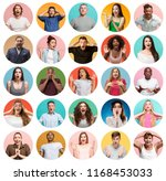 the collage of faces of...   Shutterstock . vector #1168453033