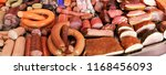 variety of sausage products | Shutterstock . vector #1168456093