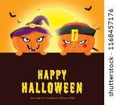 happy halloween party with... | Shutterstock . vector #1168457176