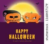happy halloween party with... | Shutterstock . vector #1168457179