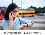 girl use smartphone on bus... | Shutterstock . vector #1168479040